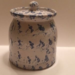 Blue & White Pottery Cookie Jar/Canister With Lid